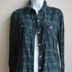 Forever 21 Green & Navy Checkered Flannel